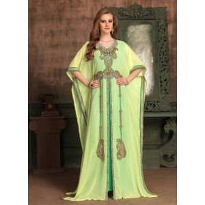Yellow and Green color Kaftan-Georgette Kaftan