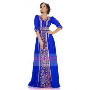 Attractive Dark Blue Jacket Style Moroccan Wedding Caftan