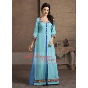 Aqua and Sky Blue Color Casual Designer Dress