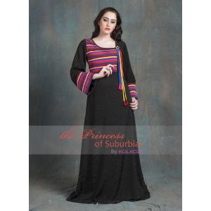 Black and Multicoloured Color Casual Maxi Dress With Lace Work