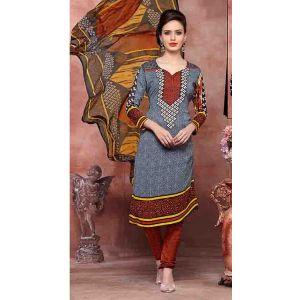 Multi Colour color Casual Salwar Kameez-Crepe Salwar Kameez