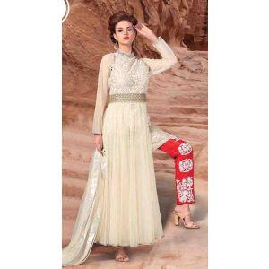 White color Designer-Net Salwar Kameez