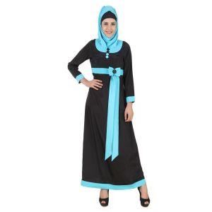 Asifa Black & Turquoise Embroidered Abaya-FINAL SALE