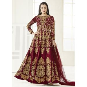 Red color Anarkali Suits-Silk Salwar Kameez-FINAL SALE
