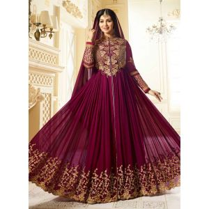 Maroon color Long Length Anarkali-Georgette Salwar Kameez_FINAL SALE
