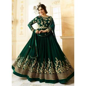 Green color Long Length Anarkali-Georgette Salwar Kameez_FINAL SALE