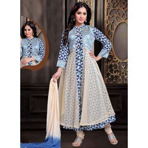 Silk, Jacquard Fabric Blue, White Color Attractive Lehenga Style In Straight Cut Look