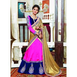Pink and Blue color Designer Lehnga Choli-Georgette Lehenga Choli