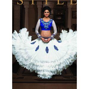 White color Designer Lehnga Choli-Net Lehenga Choli