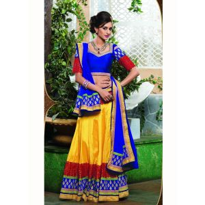 Yellow color Designer Lehnga Choli-Chiffon Lehenga Choli