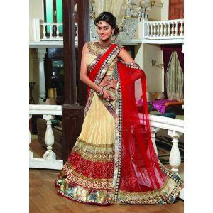 Brown color Designer Lehnga Choli-Net Lehenga Choli