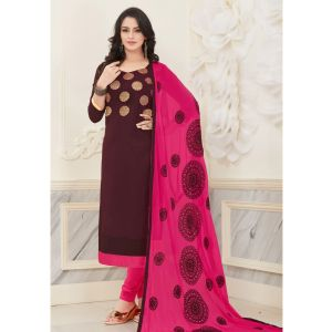 Brown color Casual Salwar Kameez-Cotton Salwar Kameez