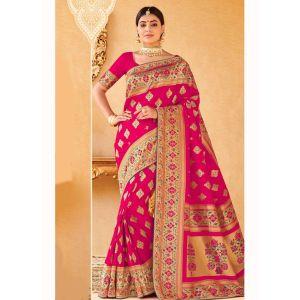 Pink color Designer Saree-Silk Embroidered Saree