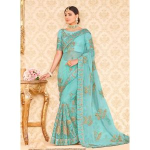 Blue color Designer Saree-Net Embroidered Saree
