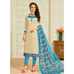 Beige color Casual Salwar Kameez-Cotton Salwar Kameez