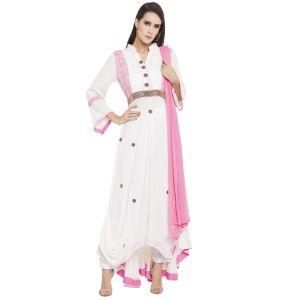 White color Party Wear Rmd Salwar-Cotton Salwar Kameez