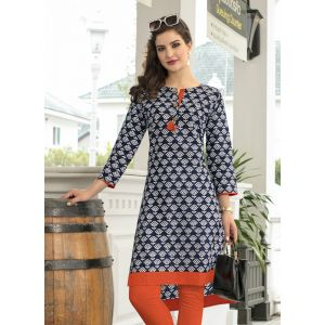Blue and Off White color Formal-Cotton Ready Made Kurti