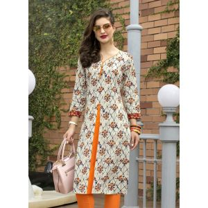 Beige,Orange and Multicoloured color Formal-Cotton Ready Made Kurti