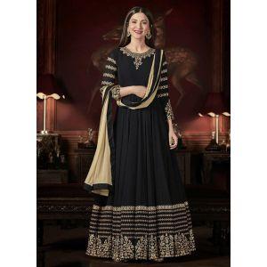 Black color Anarkali Suits-Georgette Salwar Kameez