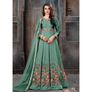 Green color Anarkali Suits-Silk Salwar Kameez