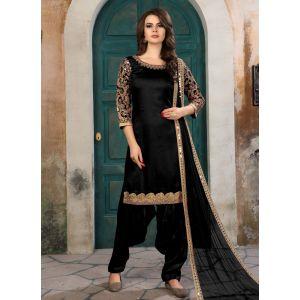 Black color Patiyala Suita-Silk Salwar Kameez