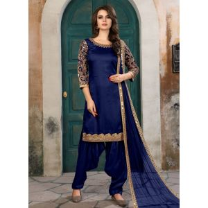 Blue color Patiyala Suita-Silk Salwar Kameez