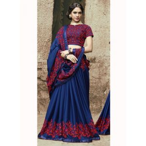 Blue color Designer Saree-Georgette Embroidered Saree