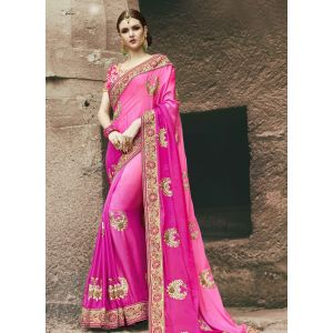 Pink color Designer Saree-Chiffon Embroidered Saree