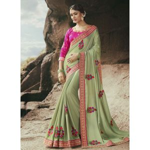 Green color Designer Saree-Georgette Embroidered Saree