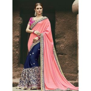 Orange and Blue color Designer Saree-Chiffon Embroidered Saree