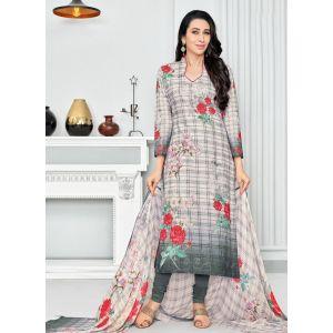 Off White and Green color Casual Salwar Kameez-Cotton Salwar Kameez