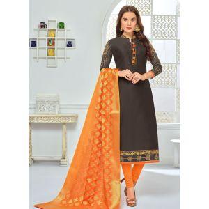 Grey color Straight Suits-Cotton Salwar Kameez
