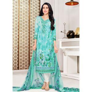 Blue color Casual Salwar Kameez-Cotton Salwar Kameez