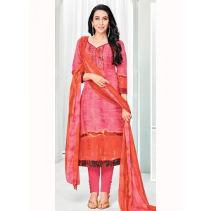 Pink and Orange color Casual Salwar Kameez-Cotton Salwar Kameez
