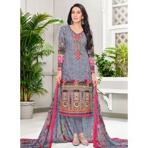 Grey and Pink color Casual Salwar Kameez-Cotton Salwar Kameez