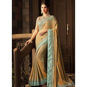 Multicoloured color Designer Saree-Silk Embroidered Saree