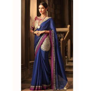 Blue color Designer Saree-Silk Embroidered Saree