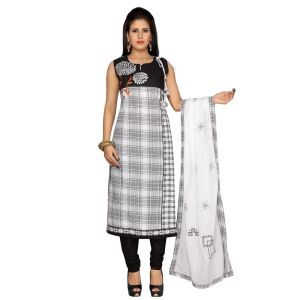 Black and White color Party Wear Rmd Salwar-Cotton Salwar Kameez