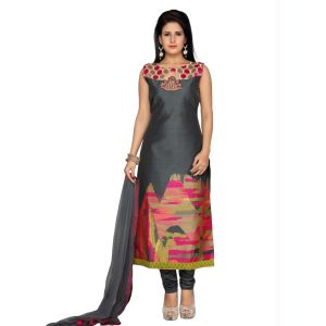 Grey color Party Wear Rmd Salwar-Silk Salwar Kameez