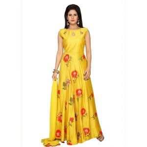 Yellow color Party Wear Rmd Salwar-Silk Salwar Kameez