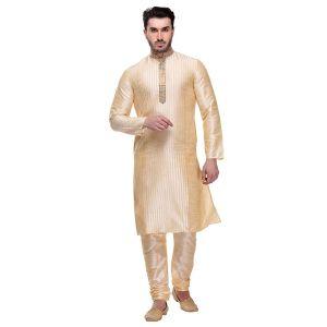 Gold color Kurta Churidar-Silk Men`S Wear