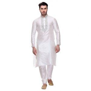 Off White color Kurta Churidar-Silk Men`S Wear