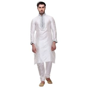 Off White color Kurta Churidar-Brocade Men`S Wear