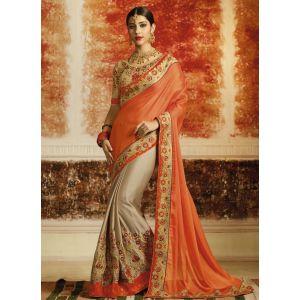Orange color Designer Saree-Silk Embroidered Saree