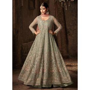 Green color Designer-Net Salwar Kameez