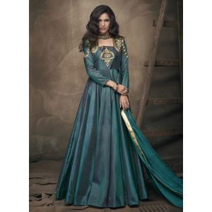 Women Gown Green Color Silk