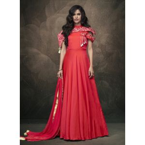 Women Gown Red Color Silk
