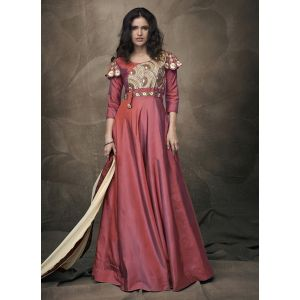 Women Gown Maroon Color Silk