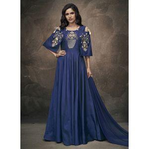 Women Gown Blue Color Silk