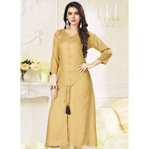 Women Ready Made Kurti Gold Color Formal